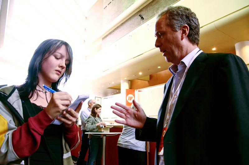 Mayor Greg Fischer was interviewed by J&C Tori Kitchens (10) at Idea Festival in 2012. Photo by Yazmin Martinez