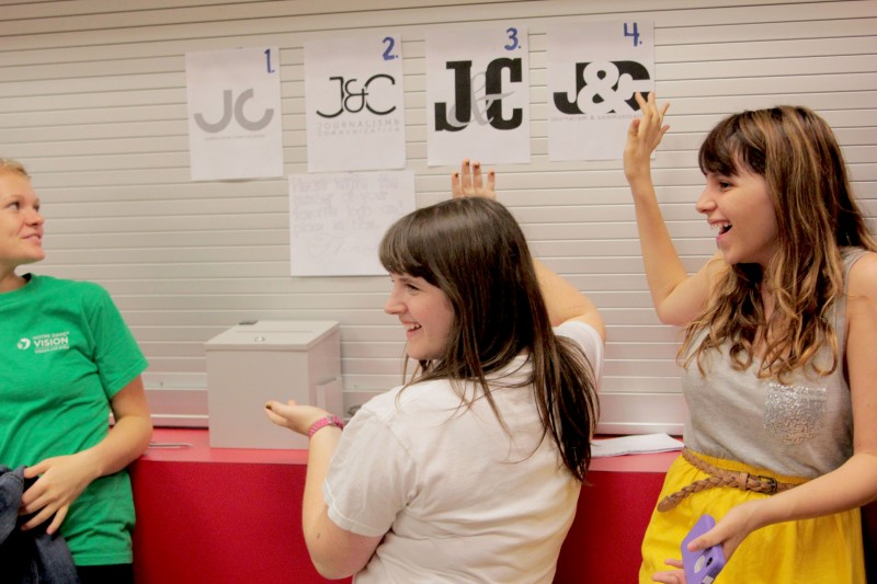 Students model possible designs for the new logo for J&C.