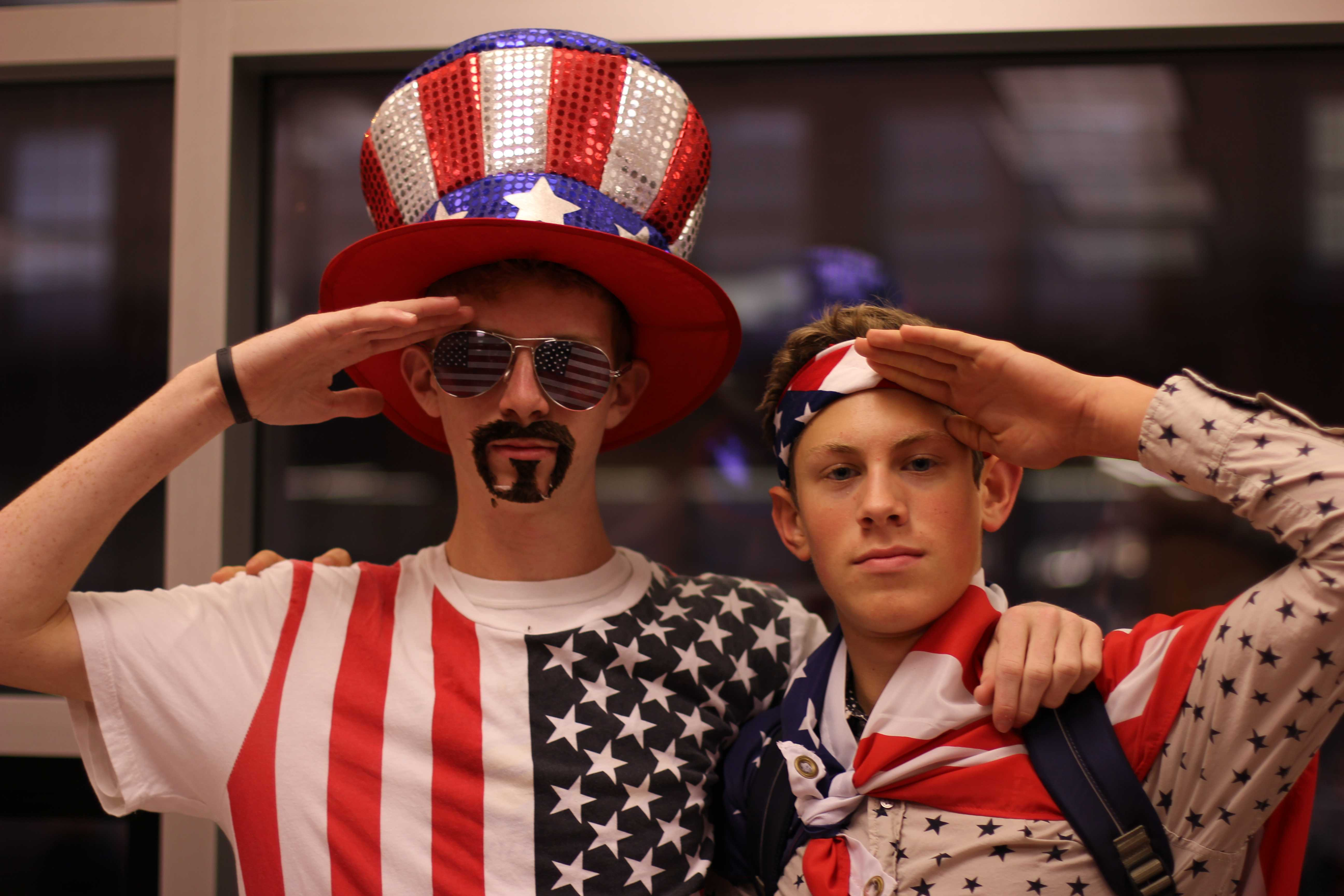 Jackson Hull, (11) and Brent Wesley, (11) salute to show their American spirit. Photo by Samantha Klein