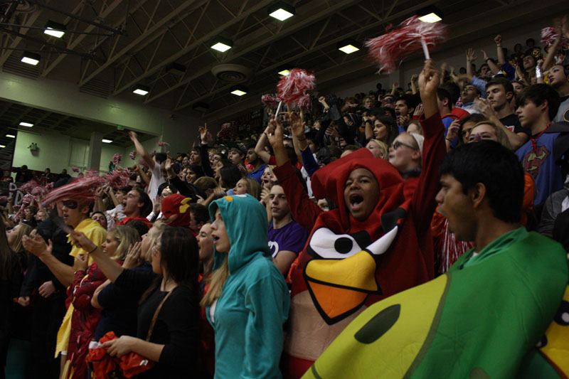 Juniors scream and wave their pom-poms at the opening of the pep rally. Photo by Molly Loehr