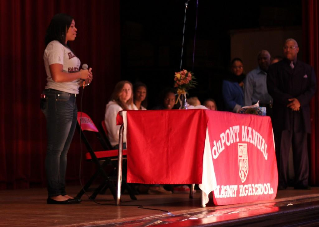 Destony Curry, (12) makes a speech after signing her letter of intent to play basketball at Bellarmine University.