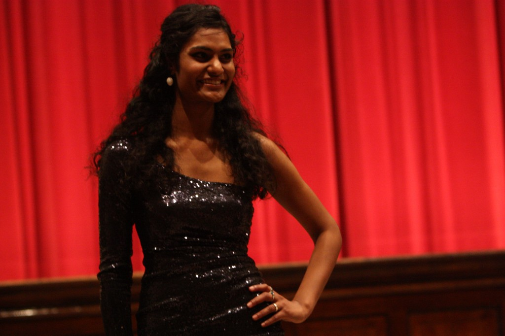 Alekya Veldhi (12) posing in her one-shouldered dress.