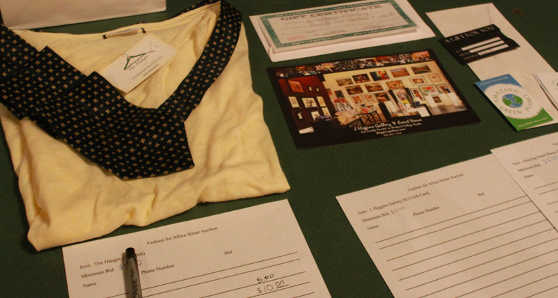 Several items were up for silent auction to benefit Action for Africa. Photo by Meg Shanks