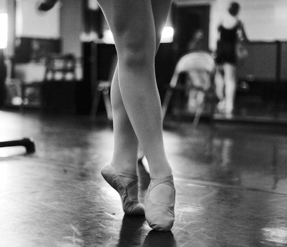 Although the dancers are not in point shoes, even the feet and toes are important to be correctly pointed.