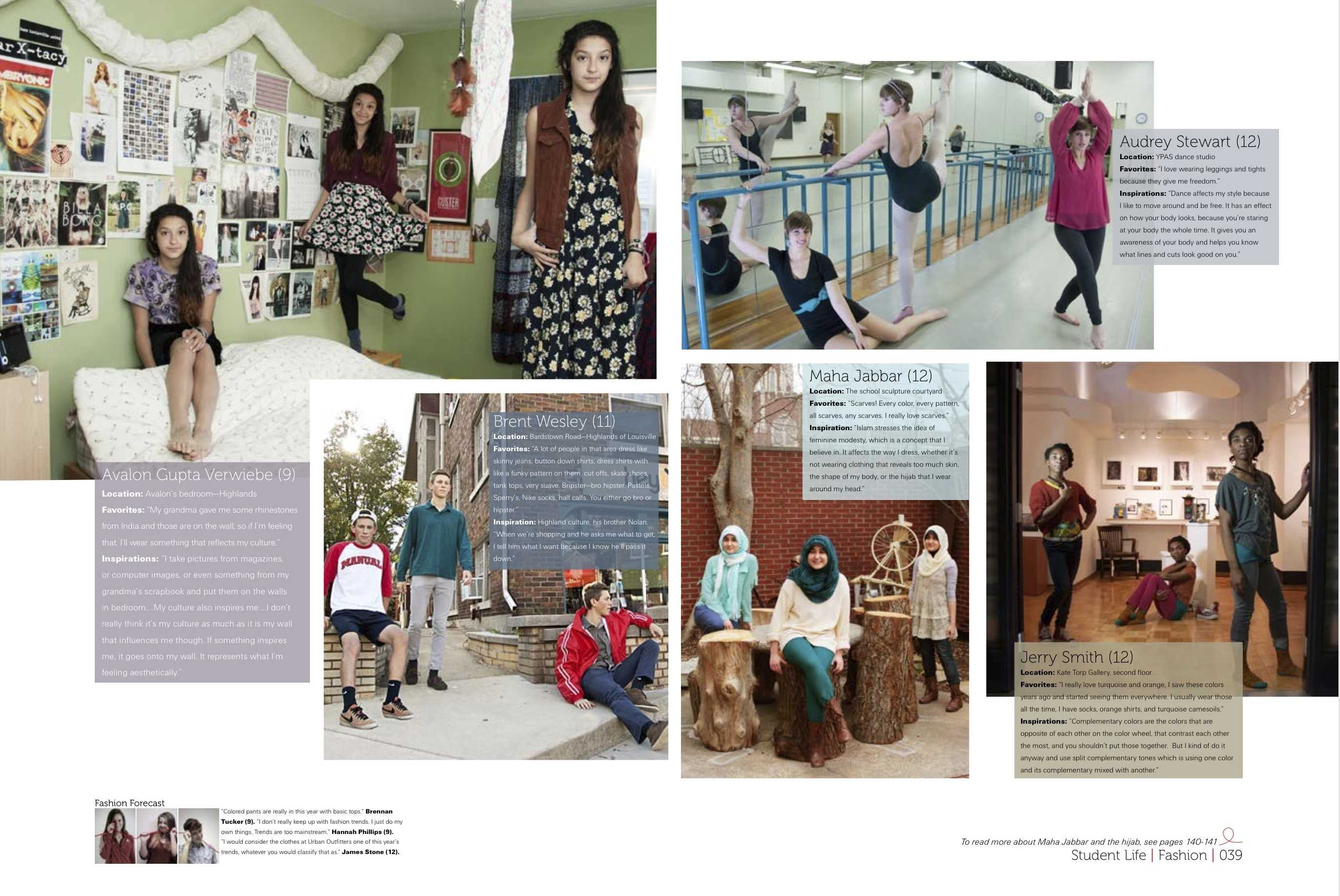 Fashion 2, the second of a two-spread feature on students' styles.