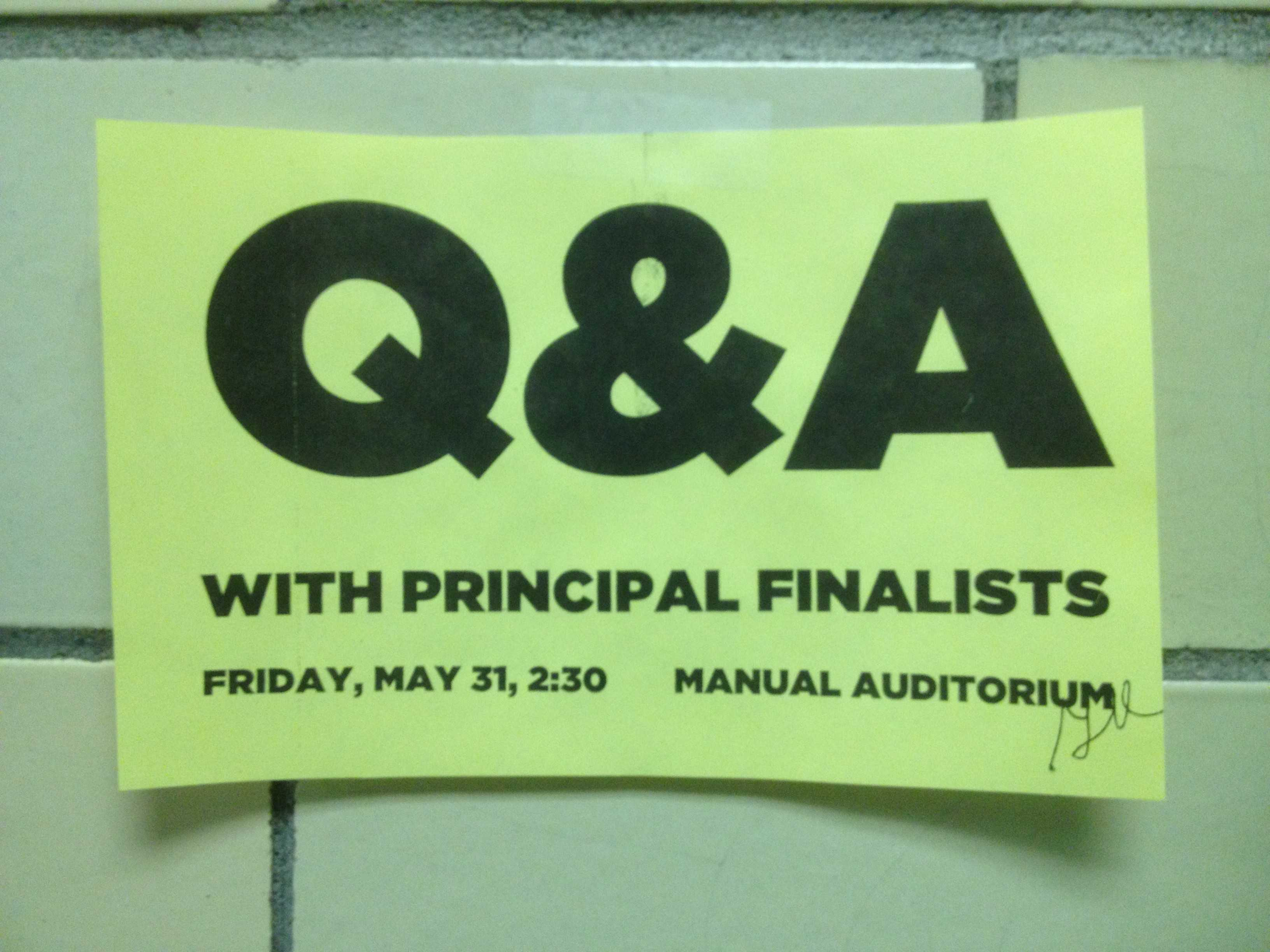 Time is running out to submit questions for principal Q&A