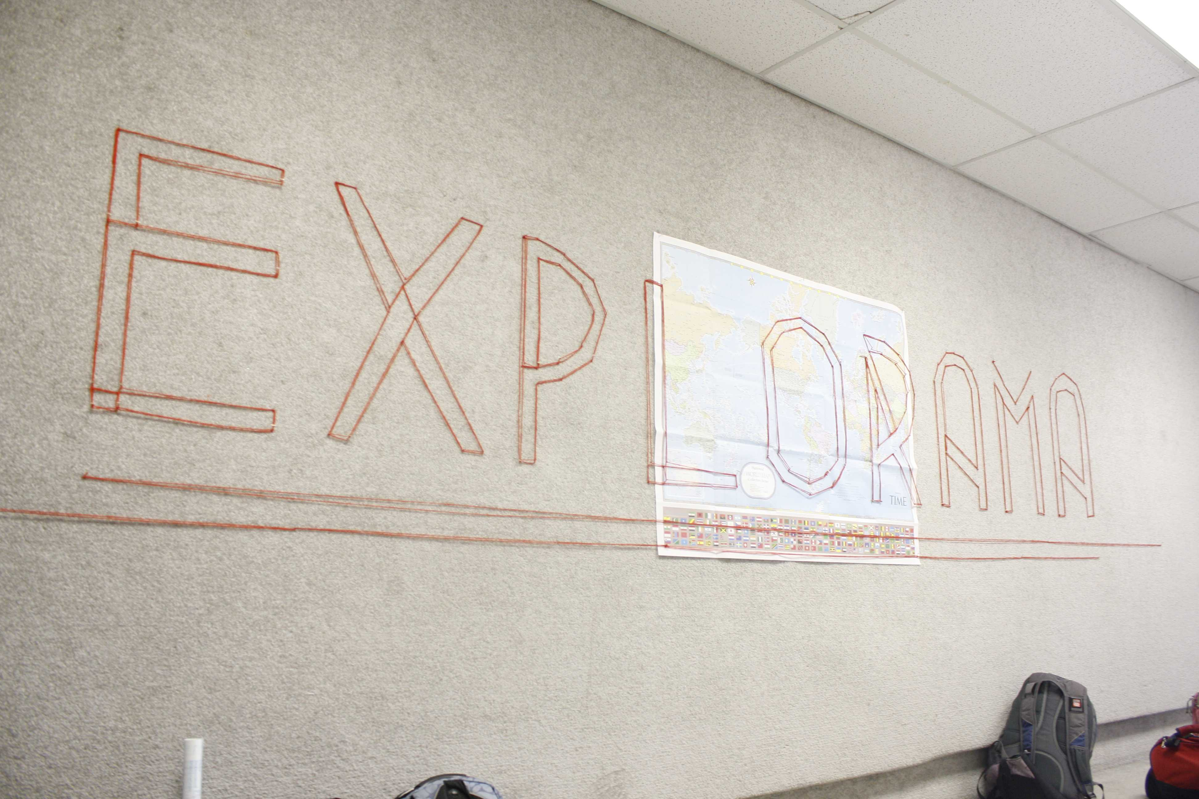 This design of the theme was set up in the hallway leading to the exhibit.