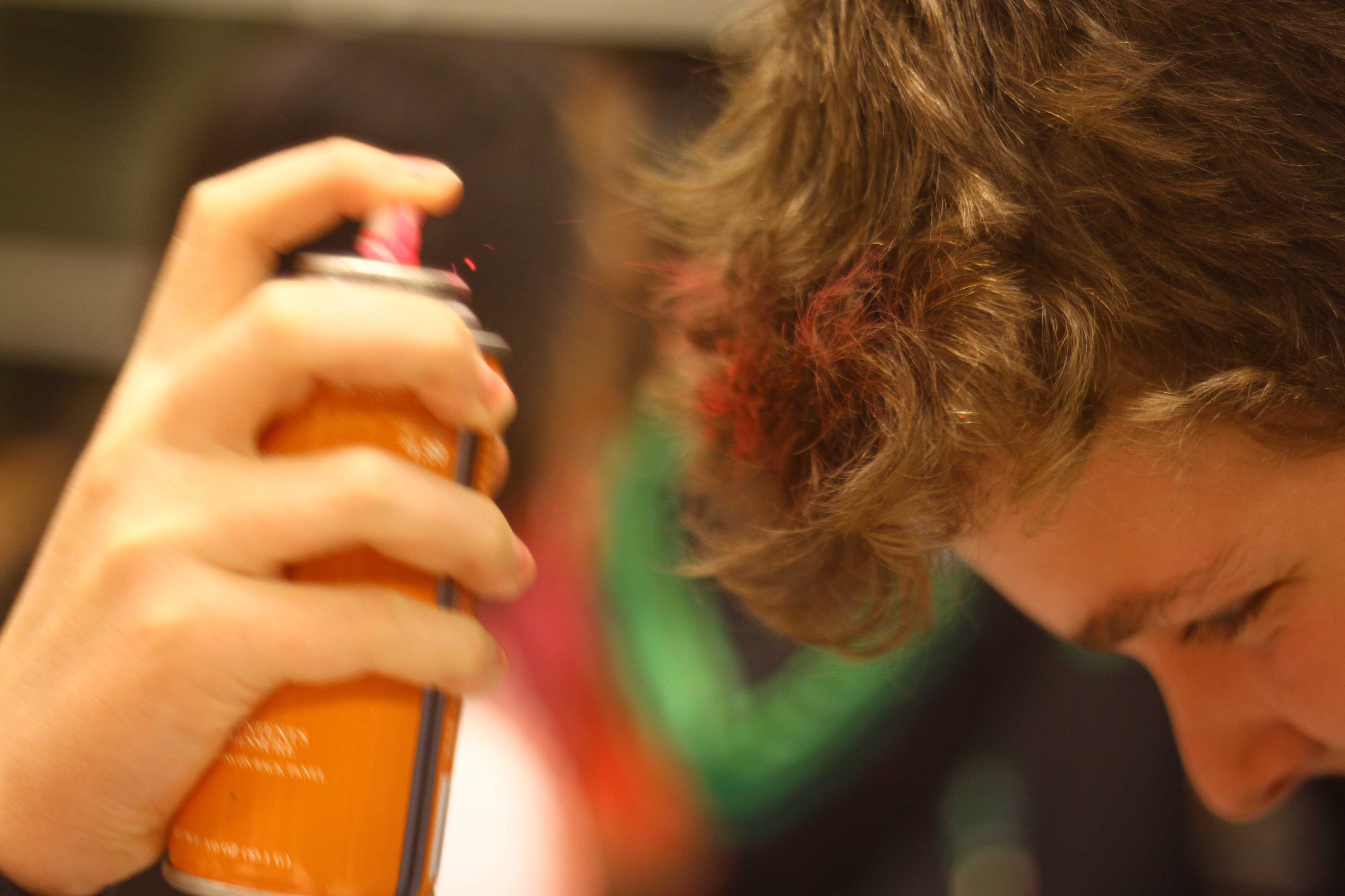 Many students sprayed their hair with temporary pink dye.