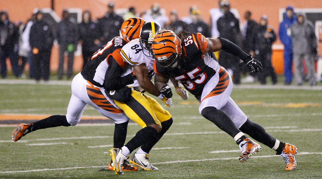 Burfict was suspended three games for his hit on Antonio Brown, the latest in a series of transgressions for the Bengals linebacker in 2015. Photo and caption by Joe Robbins (Getty Images)