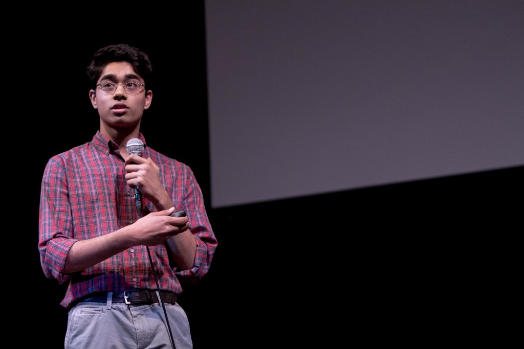 Mukund Venkatakrishnan (11, MST) discusses his innovative project, which giving his presentation. Photo by Josh Jean-Marie.