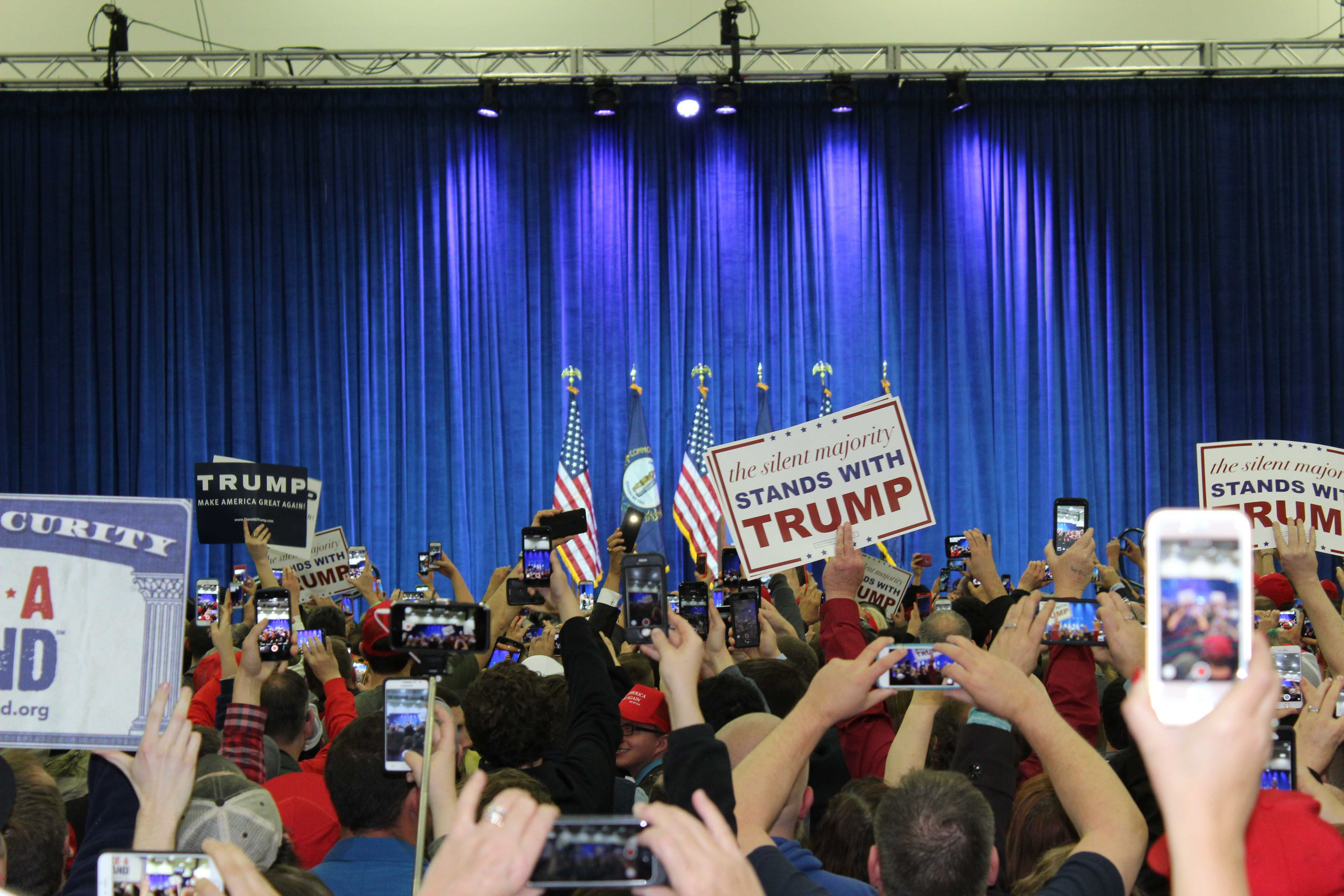 Even before Trump walked out on stage, supporters in the crowd continuously clapped and chanted slogans. Photo by Olivia Evans.