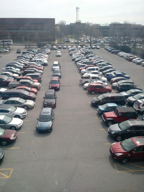 Manual's always full parking lot that seniors are taking advantage of the low gas prices. Photo by author.