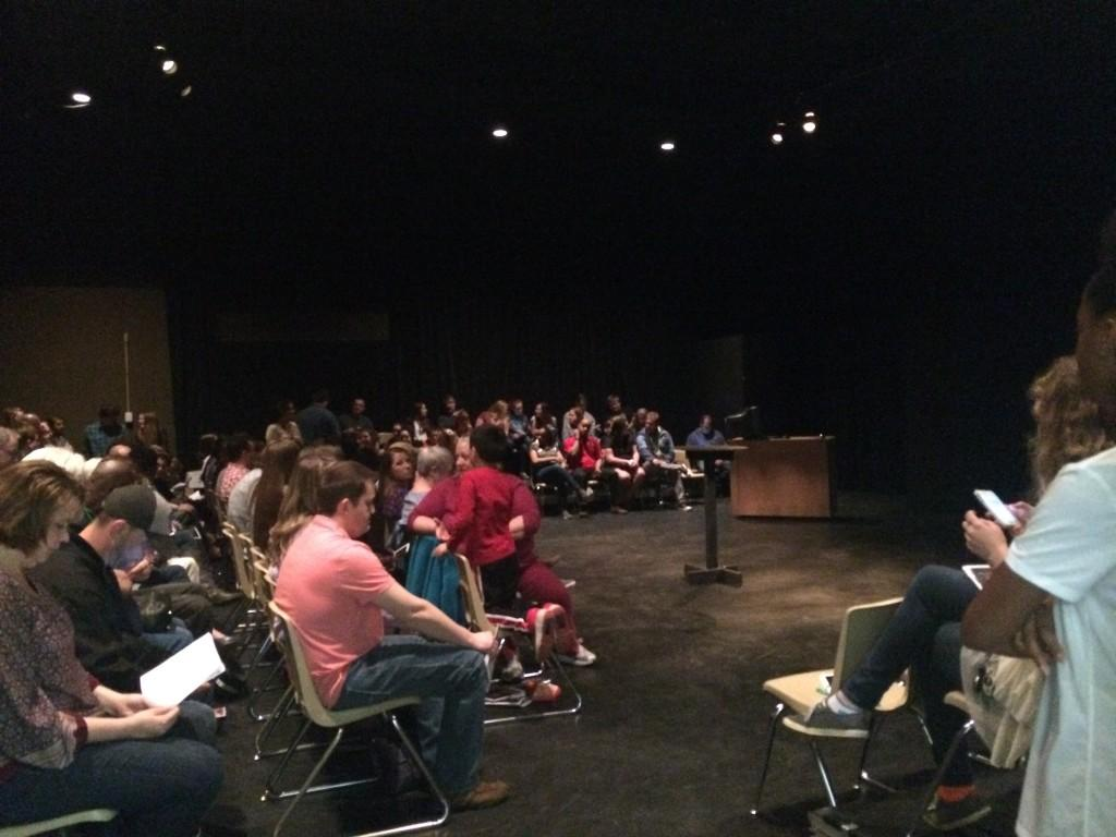 Audience gathers in the Black Box theater for New Works showing. Photo by: Alex Coburn