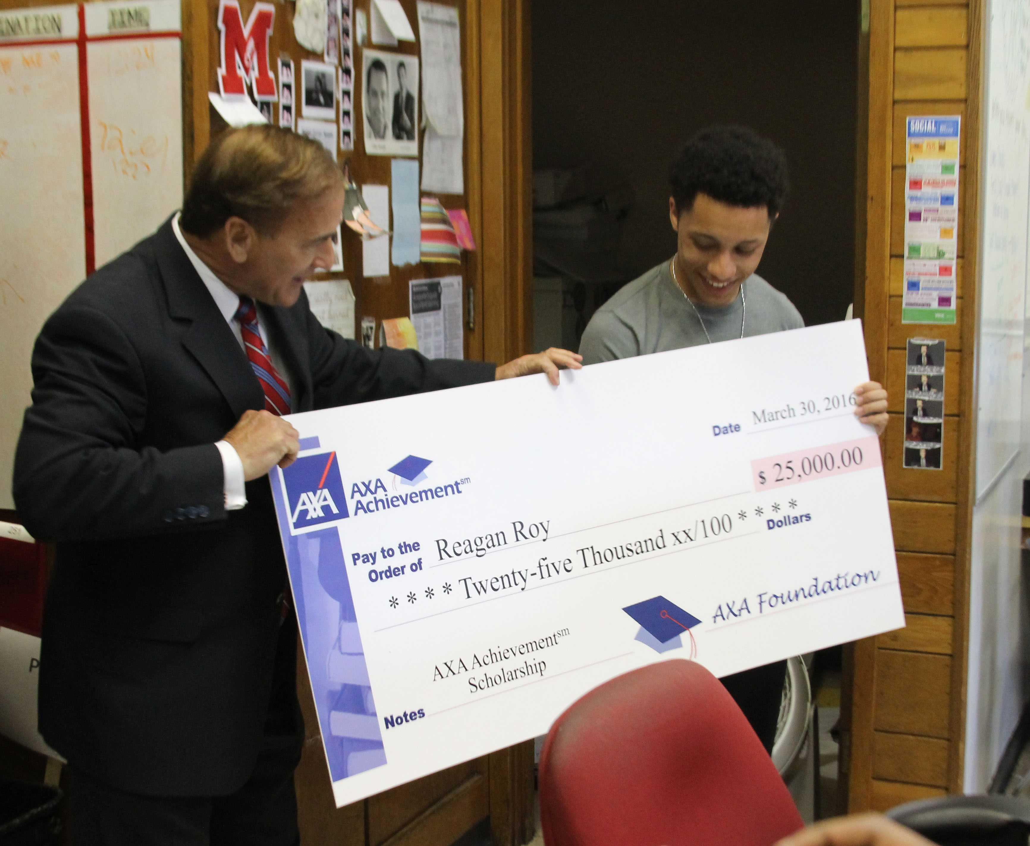 J&C senior presented with $25,000 AXA Achievement scholarship