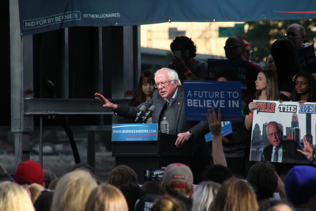 Democratic+presidential+candidate+Bernie+Sanders+spoke+to+a+crowd+of+approximately+7%2C000+at+Louisville%27s+Waterfront+Park+last+Thursday%2C+May+3.