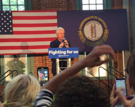 Hillary Clinton's husband campaigns for her in Louisville
