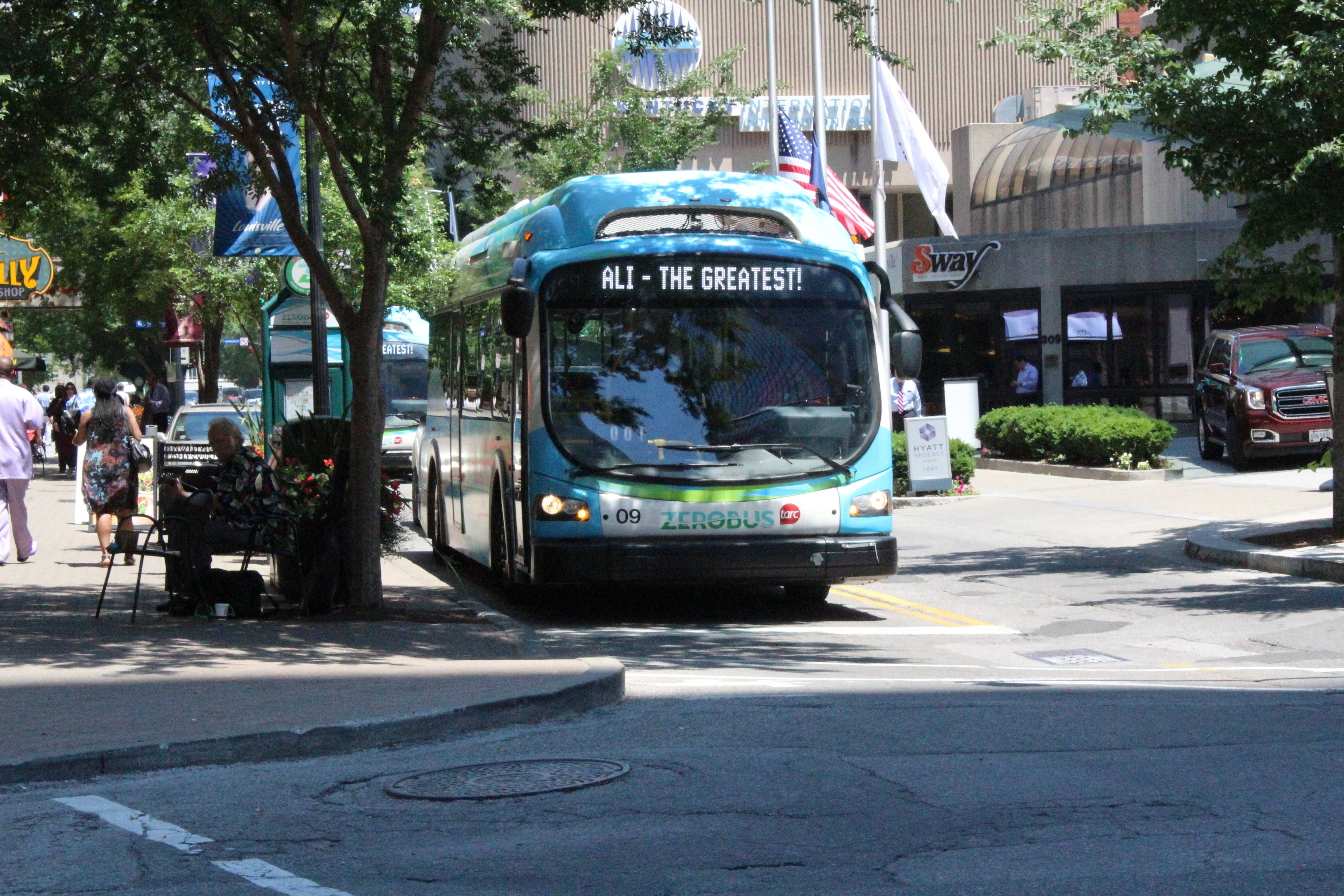 All buses had a scrolling message in support of Ali.