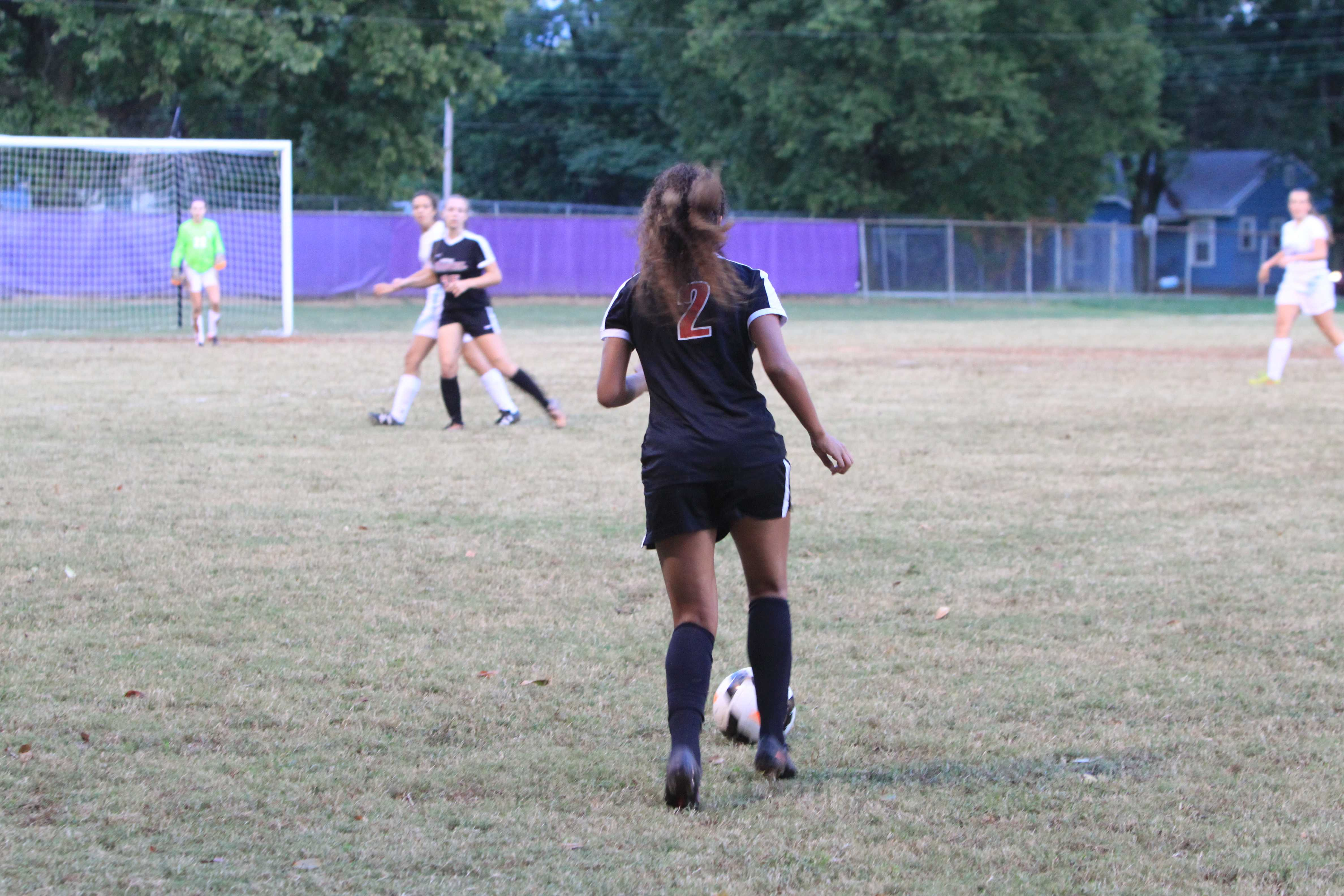 Jolene Ballard (2, 10) with the ball on a free kick.