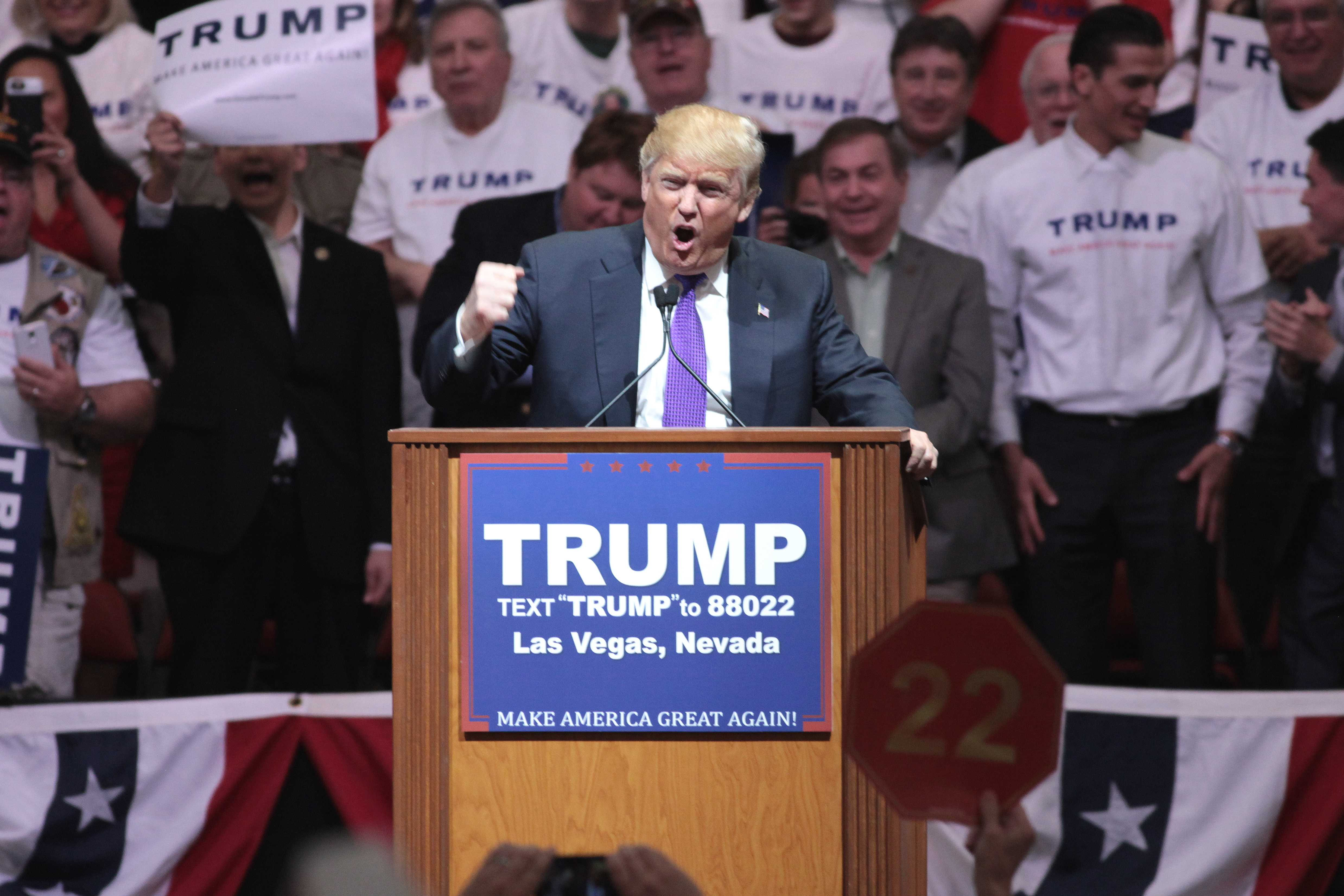 "Donald Trump addresses an audience at one of his campaign rallies in Las Vegas, Nev. ""Donald Trump"" by Gage Skidmore is licensed under CC BY-SA 2.0."