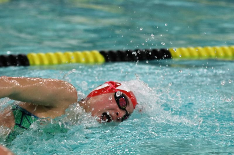 Annie Michael (12, HSU)  swims in a freestyle heat. Photo by Grace Bradley.