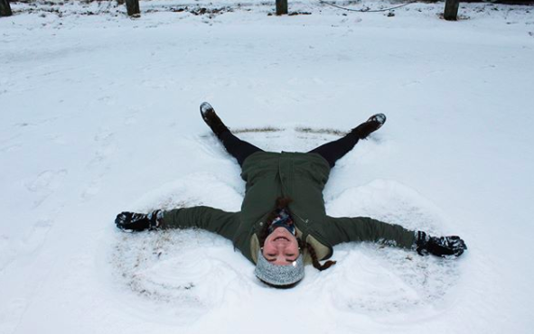 Snow angels are another nostalgic winter activity that can bring back memories of childhood winters. Photo courtesy of @maddie.goldstein via Instagram.