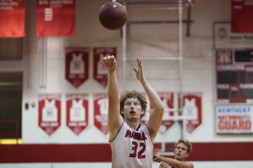 Noah Hawkins (#32, 12) at the free throw line for the Crimsons. Photo by Jade Broderick.