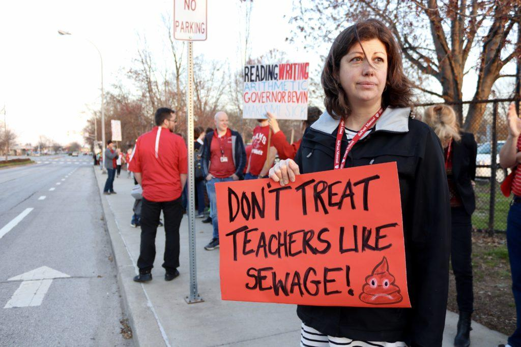 Ms. Rich protesting outside Manual April 12th. Photo by Cicada Hoyt.