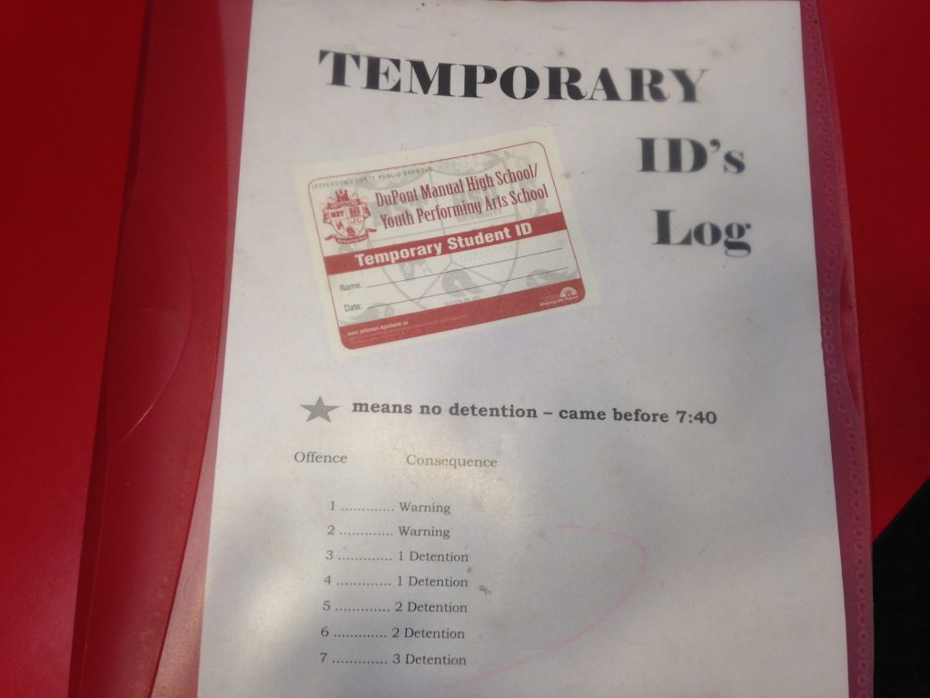 The administration's temporary ID log. Photo by Hunter Hartlage.