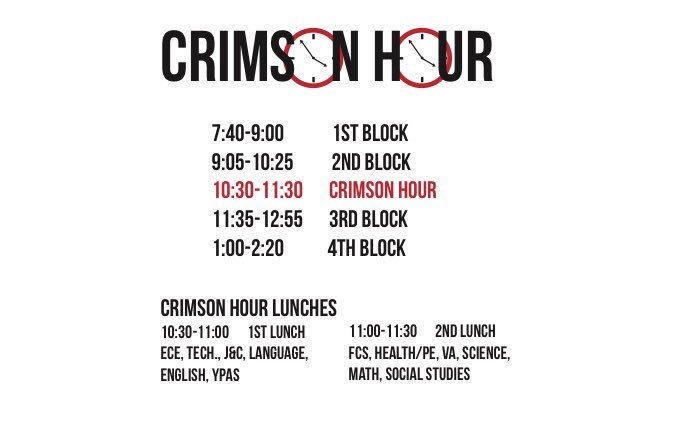 Due to the long lunch break, classes will be shortened by 10 minutes. Graphic by Piper Hansen.