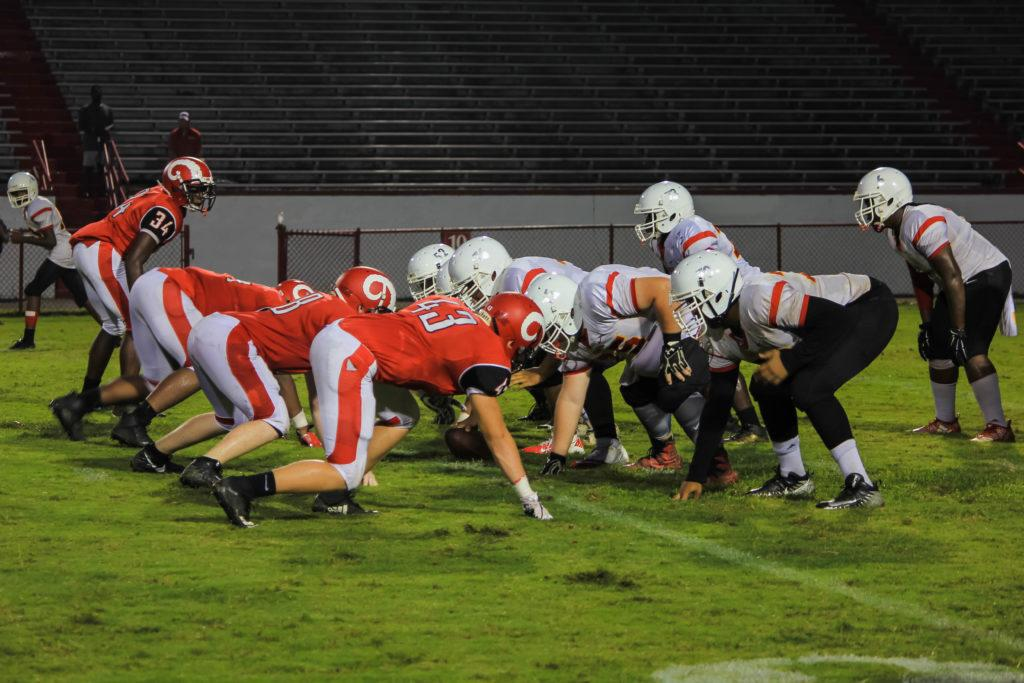 The+Manual+Crimsons+had+a+blowout+game+against+Seneca+with+a+score+of+50-0+during+the+football+homecoming+game.
