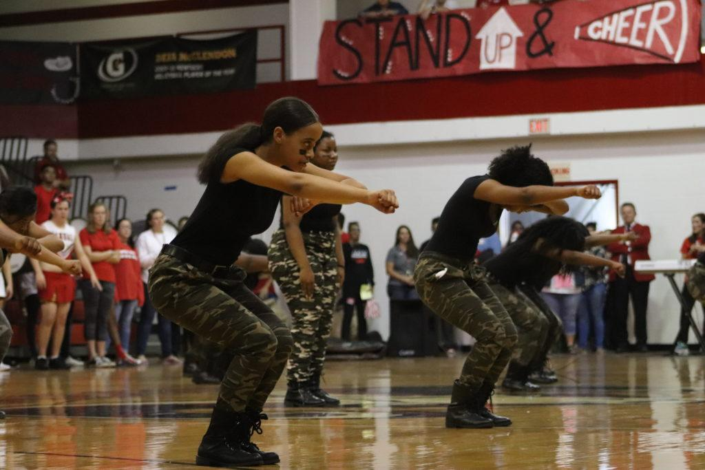 Step team dance during a previous pep rally. Photo by Phoebe Monsour.