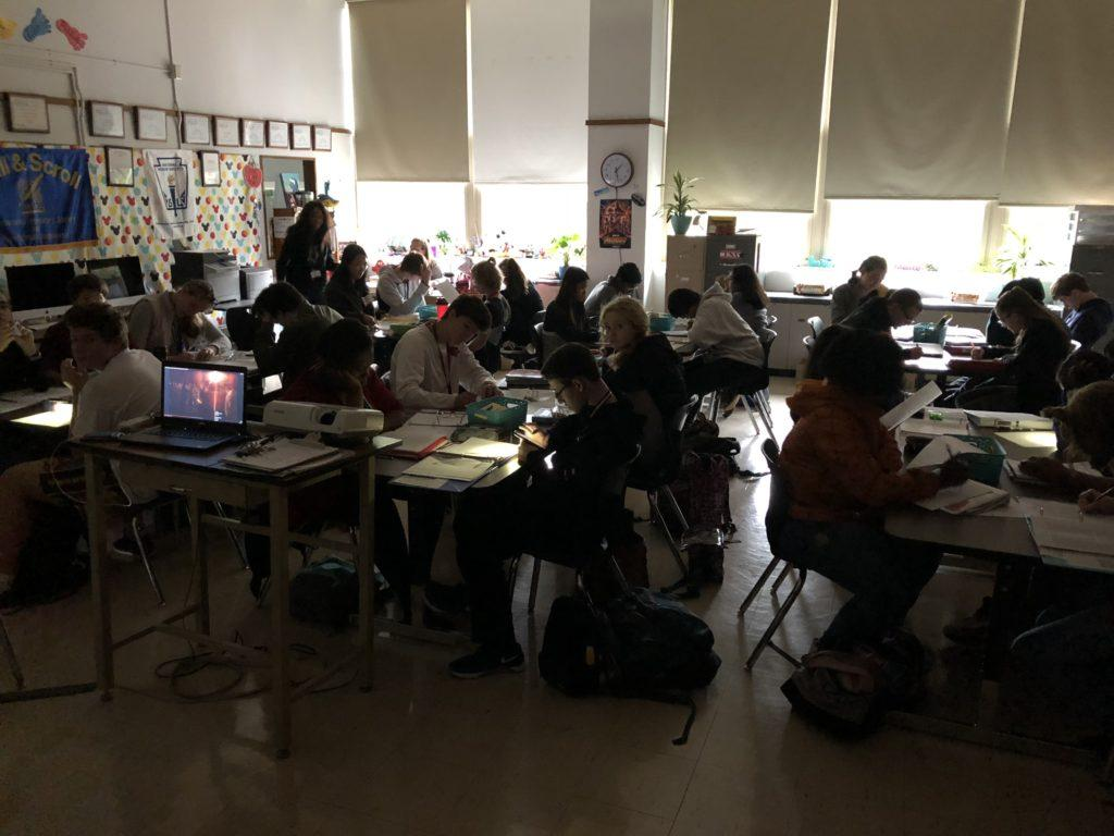Due to the power outage, teachers had no access to the internet, projectors or lights. Photo by Jack Bell.