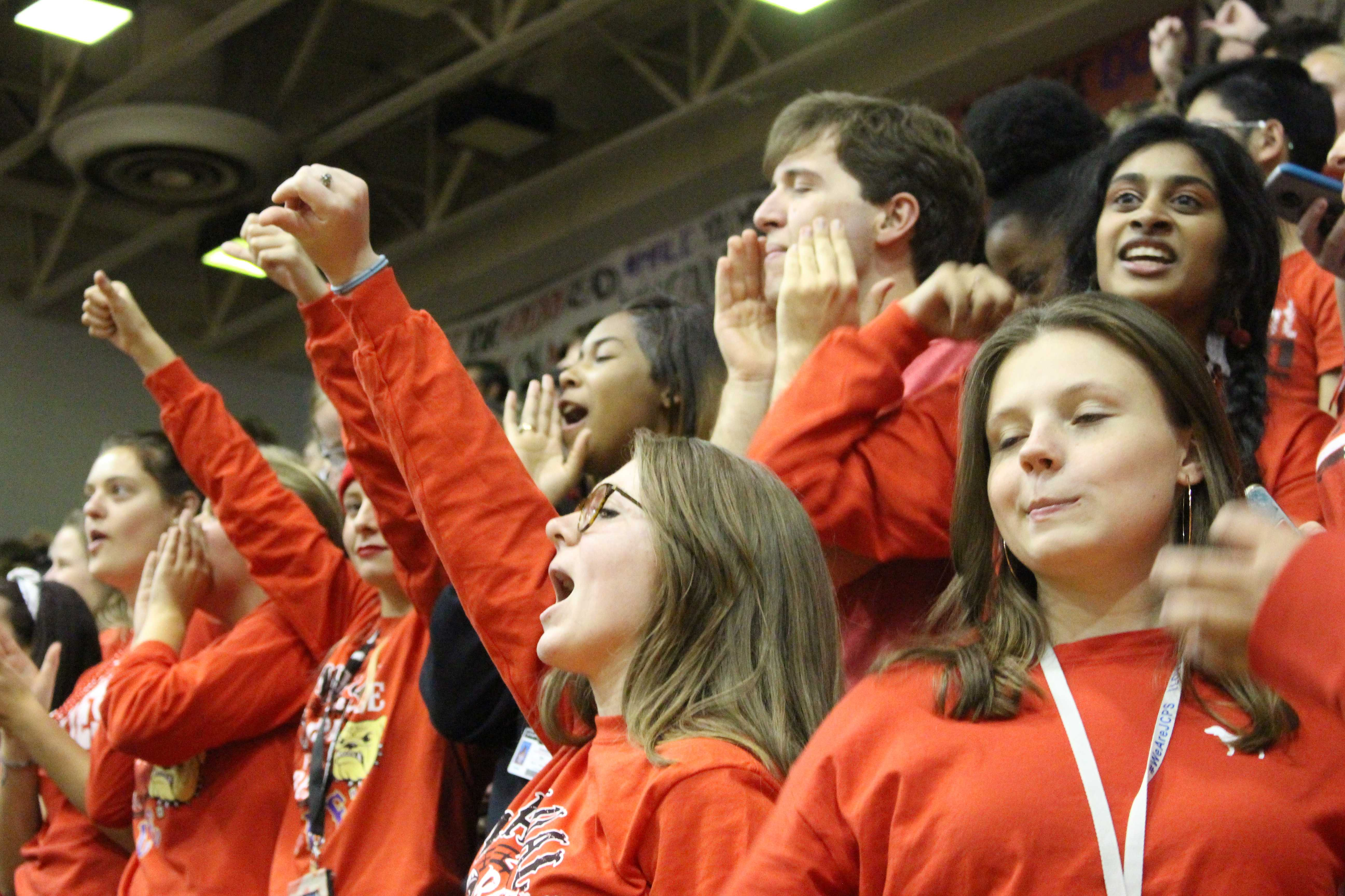 The seniors cheering at their last Red White Week pep rally. Photo by Payton Carns.