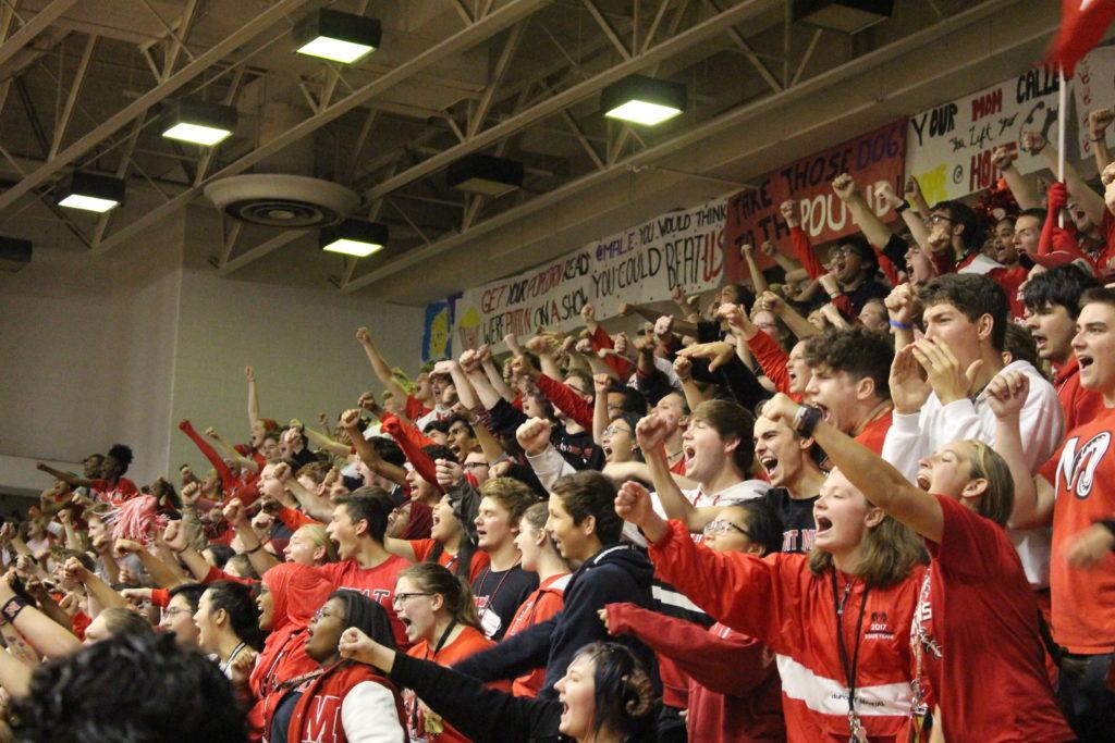 Crimsons go crazy at the pep rally. Photo by Payton Carns