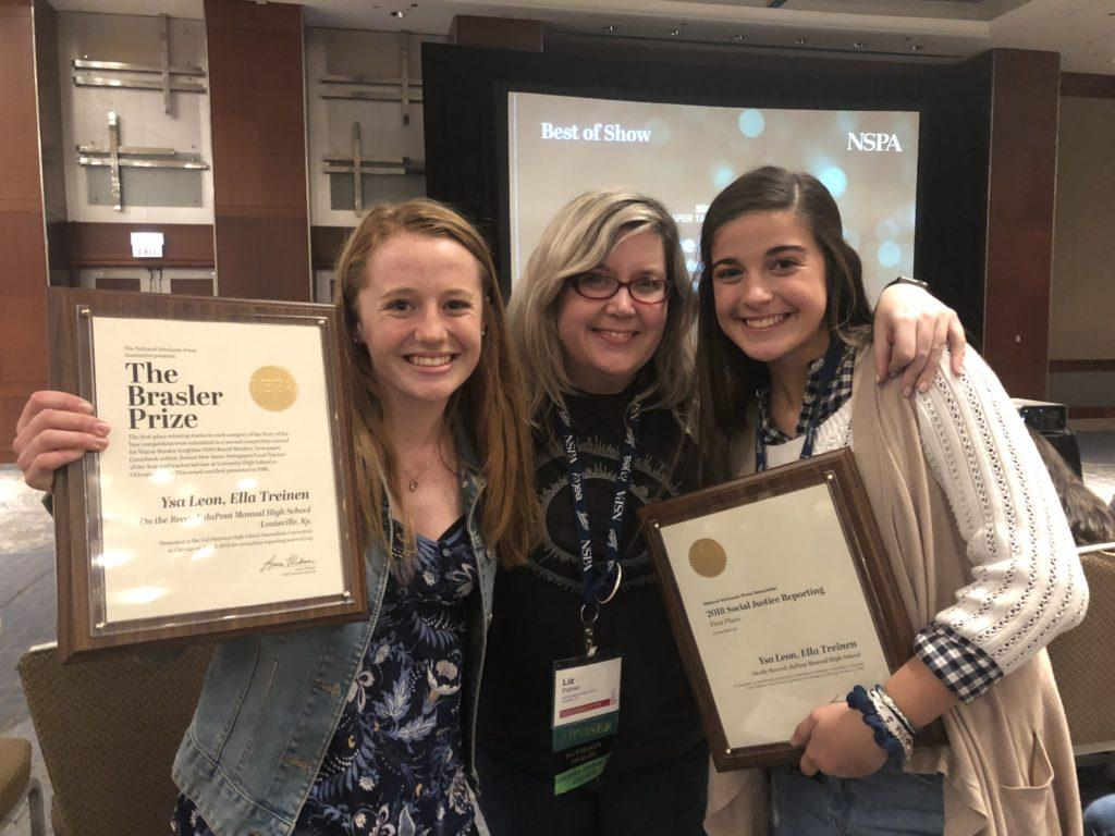 Ella Treinen (11, J&C) and Ysa Leon (11, J&C) pose with their adviser, Ms. Liz Palmer (J&C) after accepting the Brasler Prize and Social Justice Reporting Story of the Year. Photo by Stephen Leon.