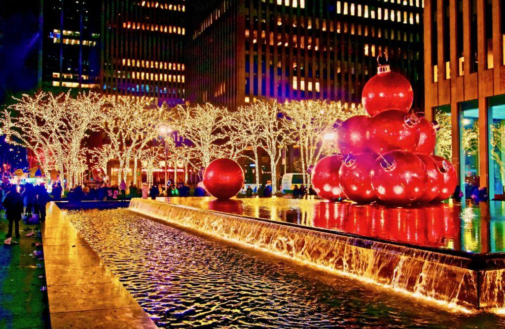 6th Avenue in Midtown New York City, all decked up for Christmas.