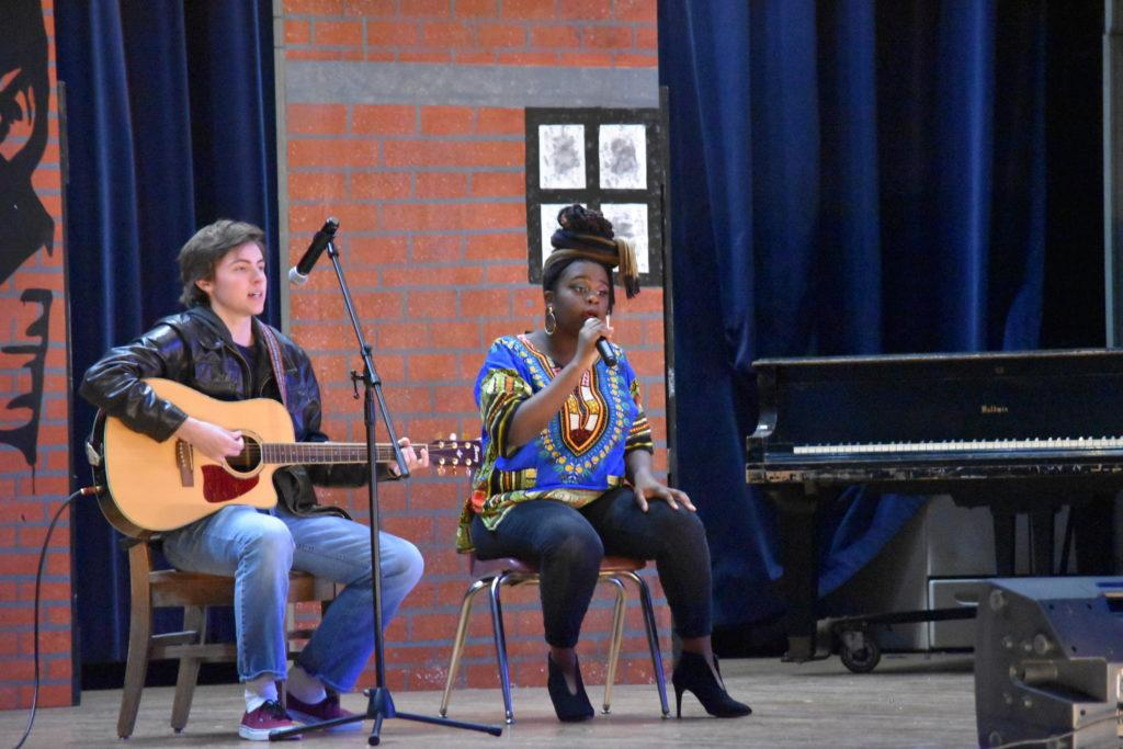 Jonathan Sutphin (11, YPAS) and Jania Gomes (11, YPAS) perform an acoustic rendition of Bob Marley's