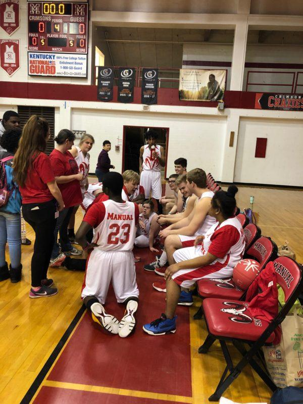 Manual+Unified+Basketball+Team+meets+together+after+their+game+with+eastern