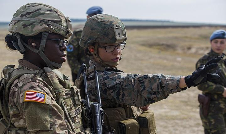 Women with a U.S. Marine Female Engagement Team operating in Europe demonstrated their capabilities in Marine Corps martial arts, non-lethal weapons, foreign weapons handling and combat lifesaving to Romanian and U.S. soldiers in Romania, 29 Sept., 2016.  The Marines spent two weeks doing military-to-military and military-to-civilian engagements to enhance regional security and stability. (U.S. Marine Corps photo by Sgt. Michelle Reif)