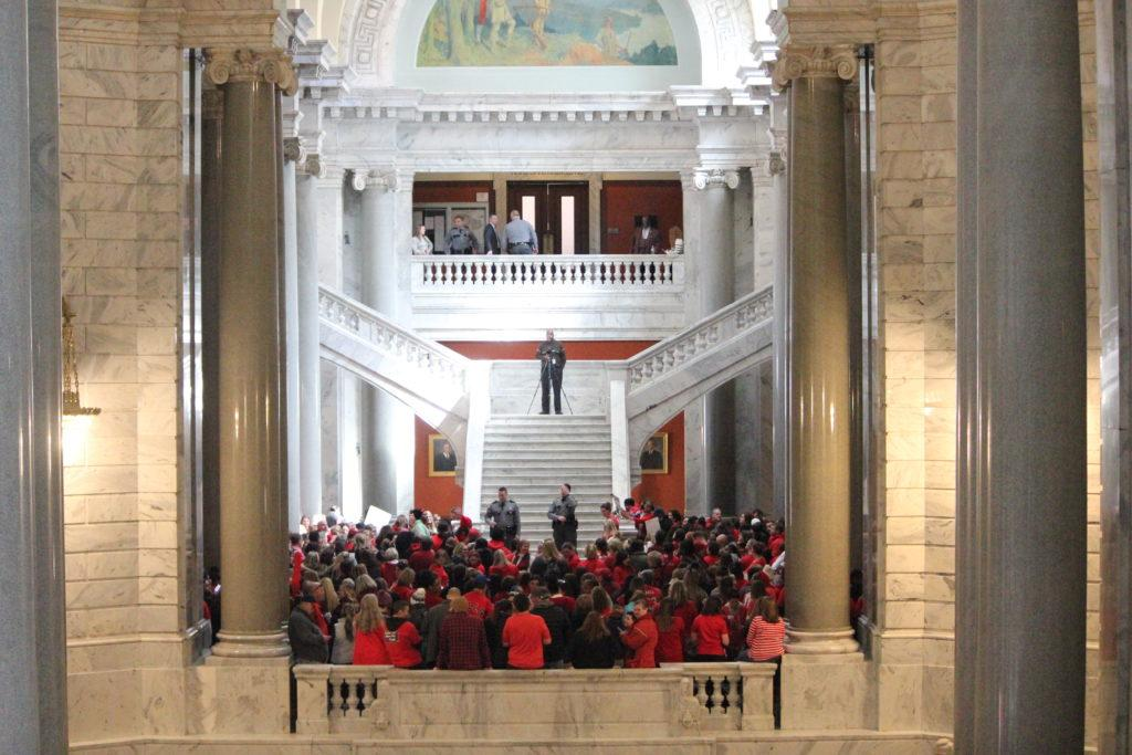 Teachers+in+the+rotunda+crowd+together+to+sing+and+chant+against+House+and+Senate+Bills.+Photo+by+Emma+%22E.P.%22+Presnell