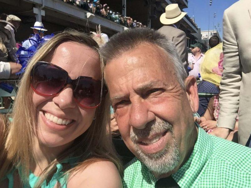 Ms. Miller at a race at Churchill Downs with a friend. Photo courtesy of Facebook.
