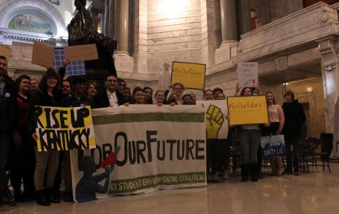 duPont Manual's World Wildlife Club and Environmental Club stand inside the Kentucky Capitol Building after the For Our Future Rally. Photo by Arianna Moya