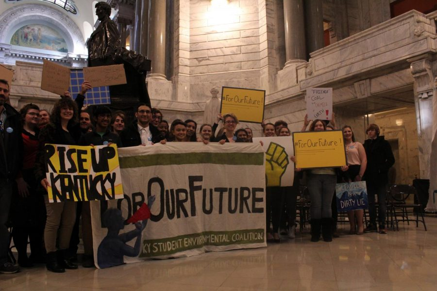 duPont Manuals World Wildlife Club and Environmental Club stand inside the Kentucky Capitol Building after the For Our Future Rally. Photo by Arianna Moya