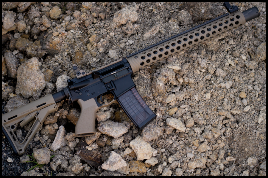 This is an AR 15 style assault rifle. AR 15s are often the center of heated debate about gun violence.