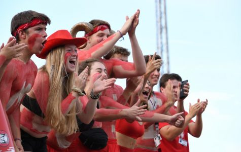The spirit section shouts and cheers at the Manual .vs. Central game earlier this year.