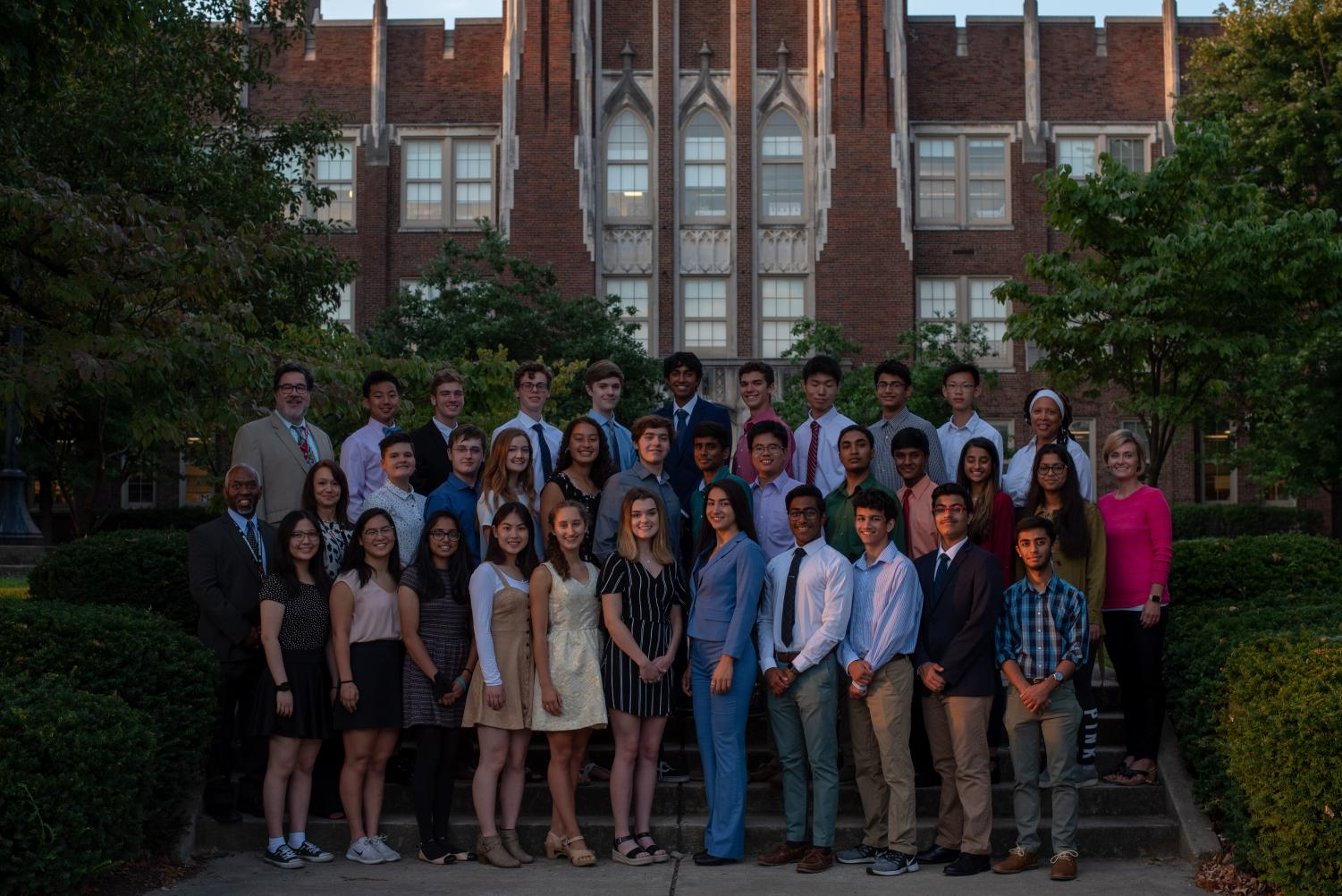 National Merit Semifinalists pose in front of Manual. Photo by Cesca Campisano.