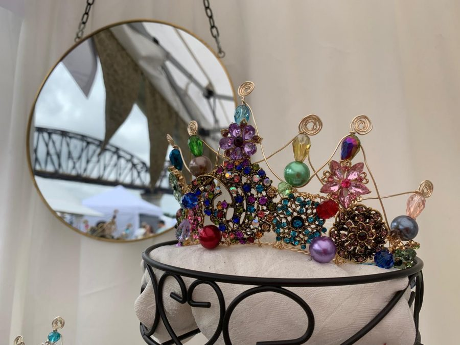 Tiaras crafted by Tina Kelsey on display at the Big Four Arts Festival. Photo by Anabel Magers