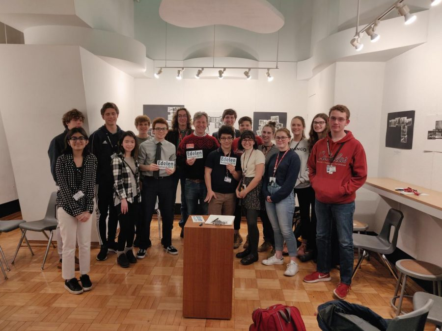 Members of the Young Democrats club stand with Gill Holland after volunteering with Adam Edelen's gubernatorial campaign earlier this year. The club members spend their meetings volunteering, discussing politics, and looking for ways to improve their community. Photo by Serena Hirn.