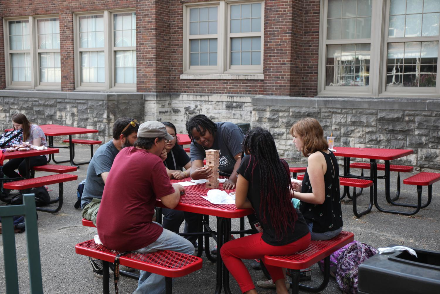 MST students play Jenga in the courtyard. Photo by Jaesylin Stephens.