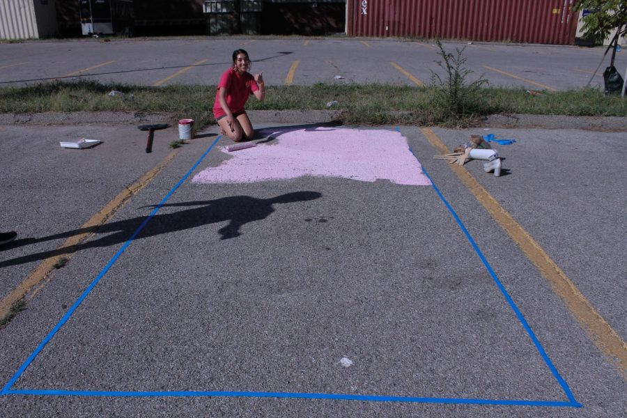 Nimrit+Singh+%2812%2C+MST%29+paints+her+parking+space+with+a+crying+Bart+Simpson.